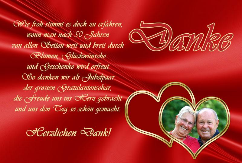 Dankeskarten & Danksagungen zur Goldenen Hochzeit ...