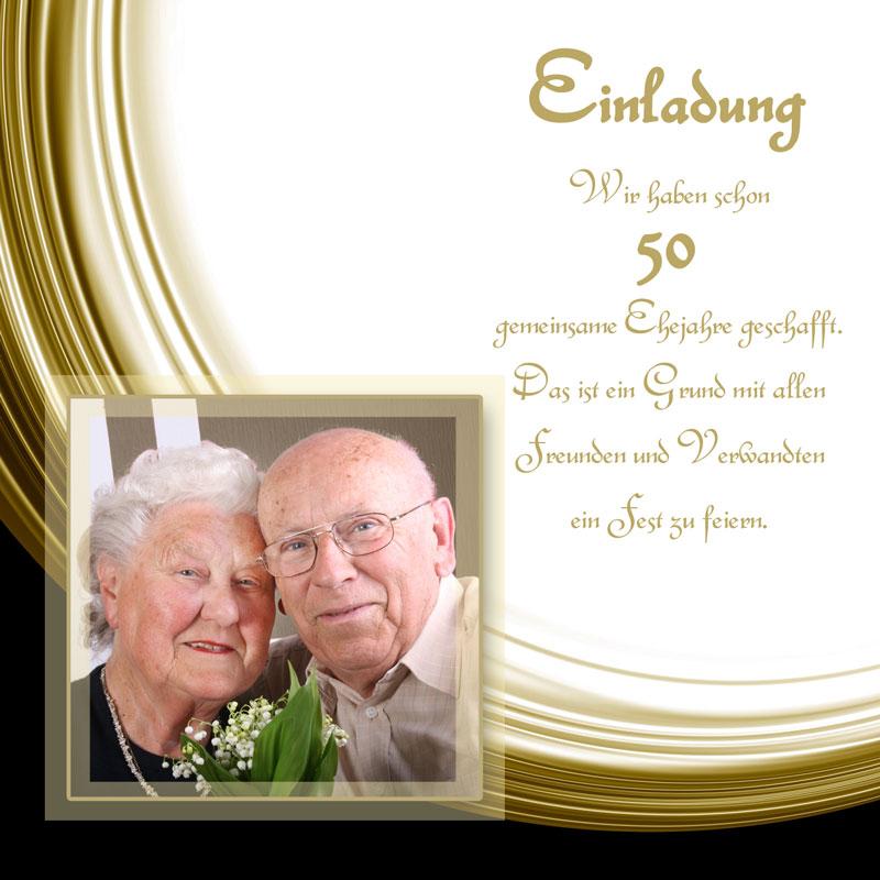 Einladung Goldene Hochzeit Mit Schwung, Auch Zur Diamantenen Hochzeit