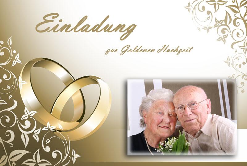 Einladungskarte Goldene Hochzeit mit goldenen Ringen
