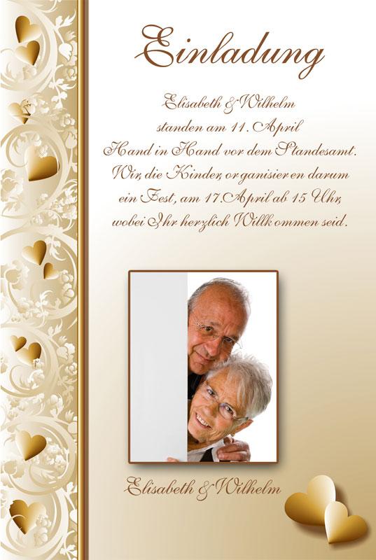 Einladung Goldene Hochzeit Mit Herzen