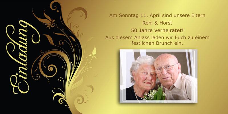 Einladung Goldene Hochzeit Mit Festlichem Goldenem Ornament. EGH 09