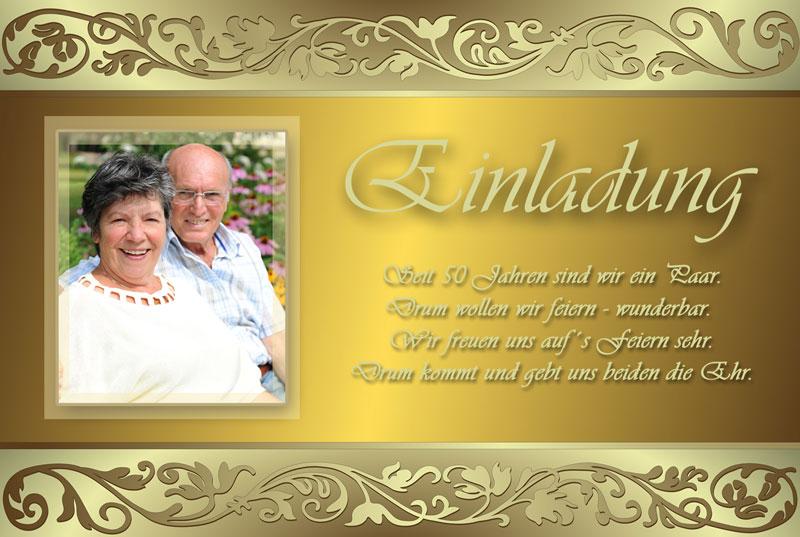 Einladungskarten Goldene Hochzeit Selbst Gestalten: Einladung & Einladungskarten Goldene Hochzeit