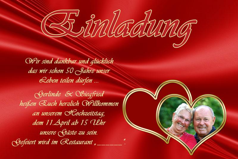 Einladung Goldene Hochzeit, Rot Mit Zwei Herzen
