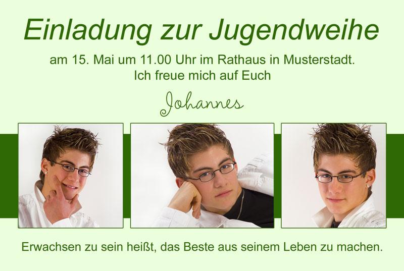 Einladungskarten Jugendweihe, Einladung Jugendweihe, In Grüntönen