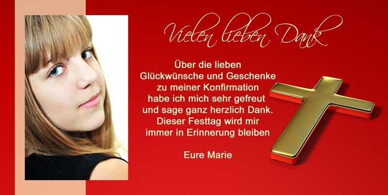 Dankeskarten U0026 Danksagungen Kommunion U0026 Konfirmation In Rot Mit Goldenem  Kreuz