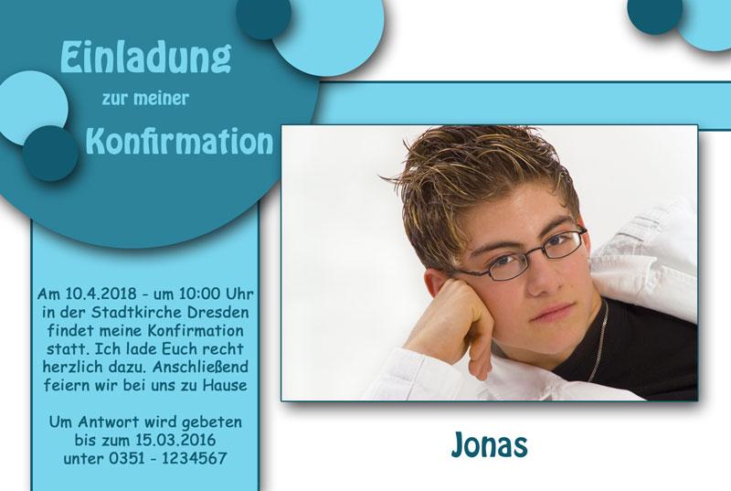 Einladungskarten Kommunion U0026 Einladungen Konfirmation Mit Blauen Kreisen