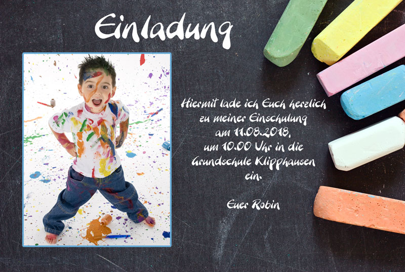 Einladungskarte Einschulung, Einladung Schulanfang   Tafel Und Kreide