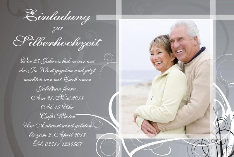 einladung & einladungskarten silberhochzeit - dankeskarten-shop, Einladungsentwurf