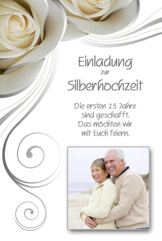 Einladung Silberhochzeit Mit Cremefarbenen Rosen Und Foto