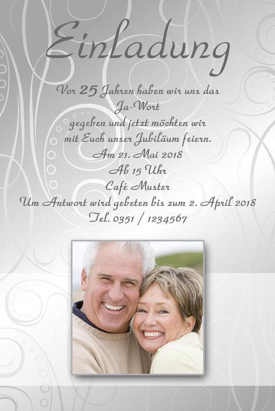 einladung & einladungskarten silberhochzeit - dankeskarten-shop, Einladung