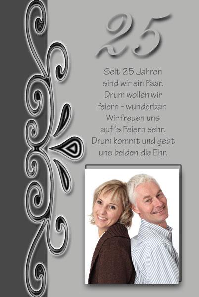 Einladung Silberhochzeit In Grau Anthrazit, Großer 25, Foto Und Text
