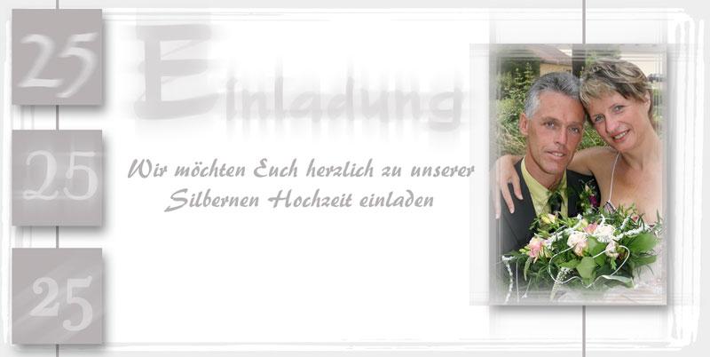 Einladungskarte Silberhochzeit Mit Silberfarbenen Ornamenten
