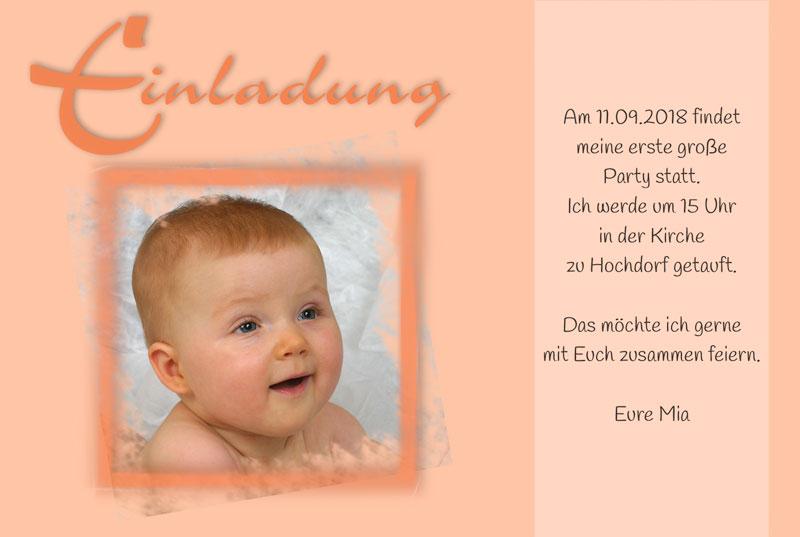 Einladungskarte Taufe, Einladung Taufe In Apricot