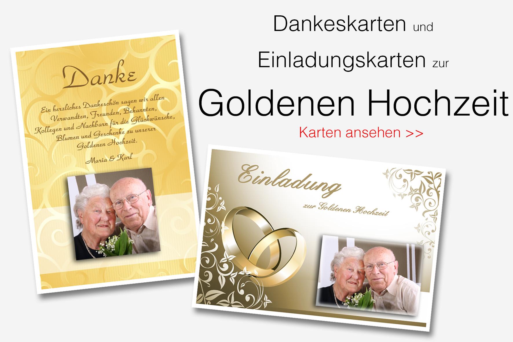 Dankeskarten Und Danksagungen Zur Goldenen Hochzeit ...